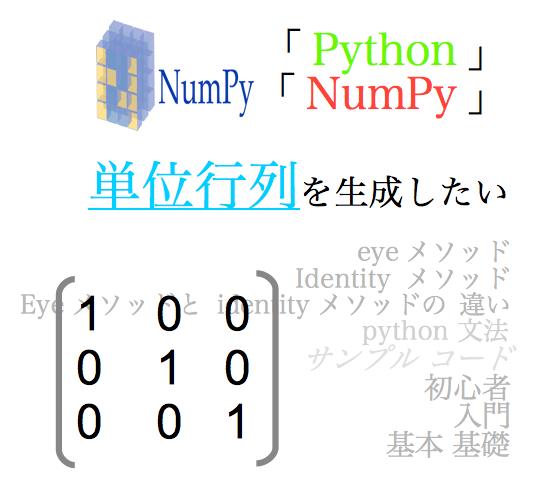 python numpy np unit matrix initialization eye identity