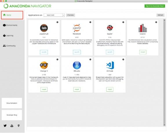 anaconda python 実行 tacos anaconda navigator Home 2