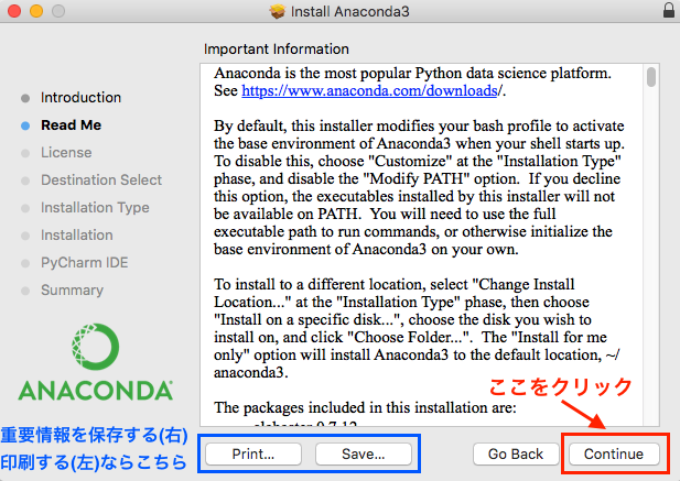 anaconda python インストール install macos