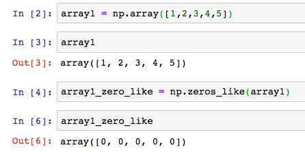 np numpy zeros like