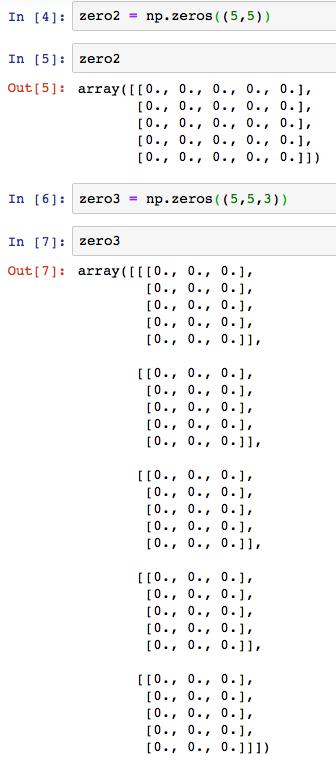 numpy np zeros 2 dimension