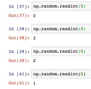 Python numpy np random rand randint 10