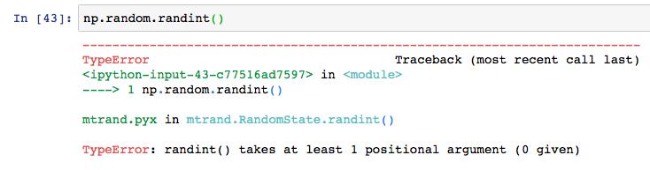 Python numpy np random rand randint 11