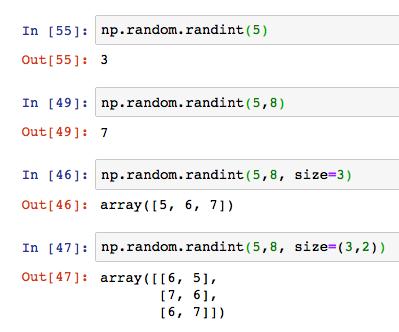 Python numpy np random rand randint 12
