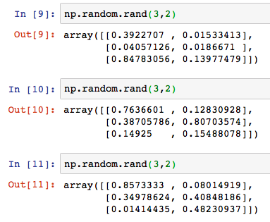 Python numpy np random rand randint 4