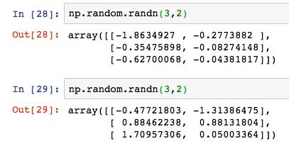 Python numpy np random randn 5