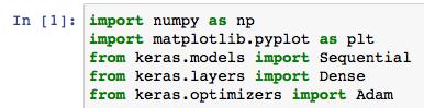 ニューラルネットワークモデル回帰 サンプル コード 1 import numpy matplotlib keras