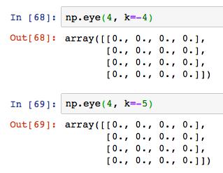 numpy np eye k -4 -5